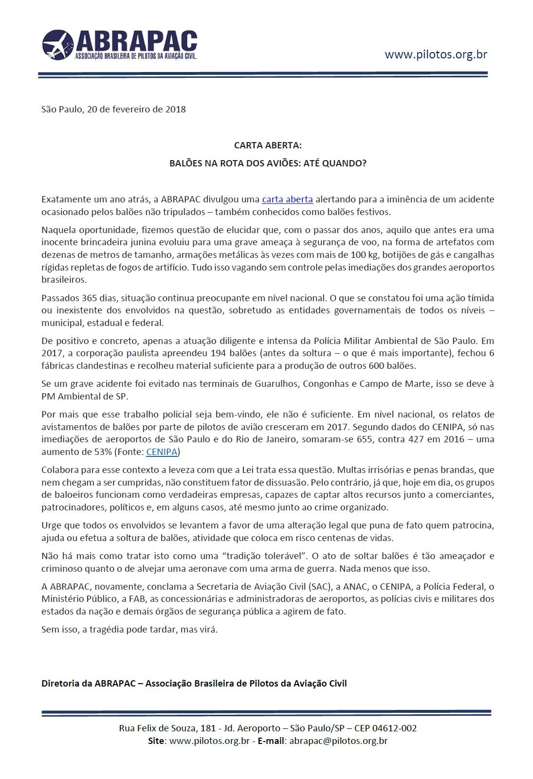 158a5a52b98b4 Diretoria da ABRAPAC – Associação Brasileira de Pilotos da Aviação Civil